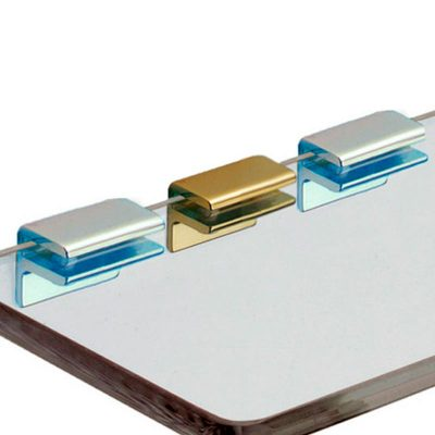Shelf support F type with double screw for glass shelf