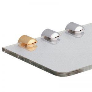 Round brass shelf support for glass shelf