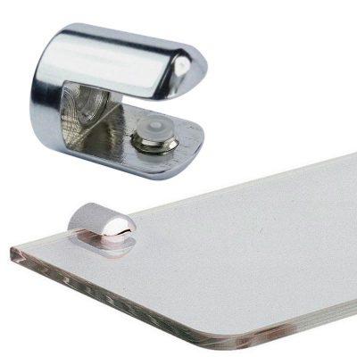 Satin round brass shelf support for glass shelf