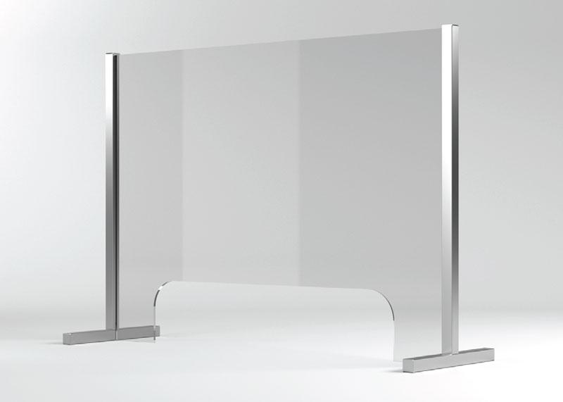 Barriera protettiva PLUS in vetro con passacarte per distanza sociale
